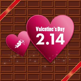 キューピッド天使ハートにリボンイラスト_板チョコレートバレンタイン販売促進用バナーポスターポップ