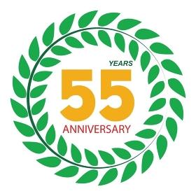 Template Logo 55 Anniversary in Laurel Wreath Vector Illustration EPS10. Template Logo 55 Anniversary in Laurel Wreath Vector Illustratio