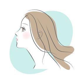 ロングヘアの女性の横顔