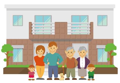 2世帯住宅と親子3世代 同居 イメージイラスト