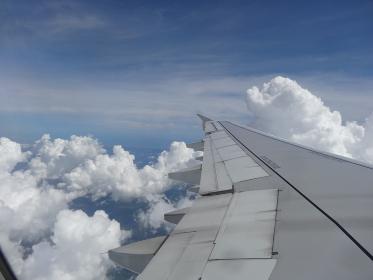 飛行機の翼と空(雲、夜明け、夕暮れ)