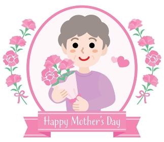 母の日のお母さんとHappy Mother's Day のタイトル
