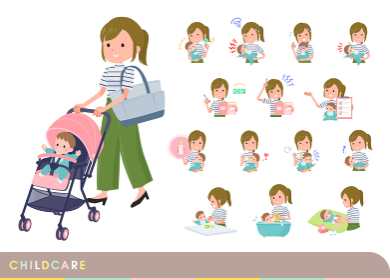 赤ちゃんのお世話をするカジュアルファッション女性のセット