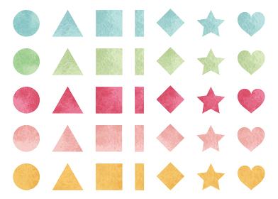 水彩図形 丸、三角、四角、星、ハート 7種類セット