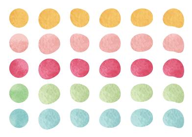 水彩図形 丸、丸のゆがみセット