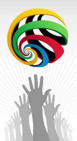 Hands silhouettes trying to reach a colorfull Olympic globe over white background. Vector file layered for easy manipulation and customisation.