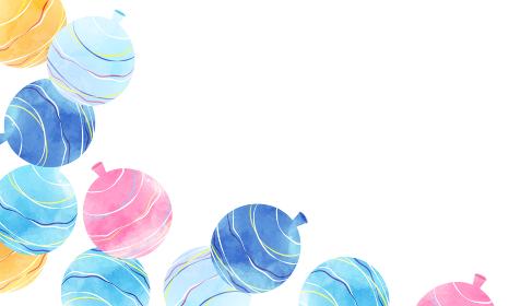 水風船(ヨーヨー)の爽やかな水彩風ベクターイラスト背景 コピースペース