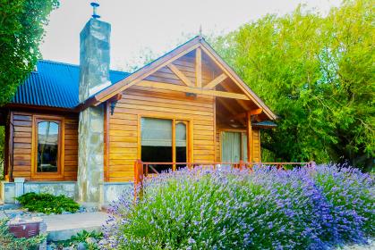 庭にラベンダーが咲くログハウス