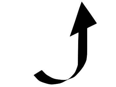 売り上げが急上昇する矢印のシルエット