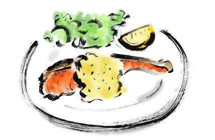 【鮭のムニエル】手描き筆書きイラスト素材