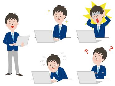 ノートPCを操作する男子学生の表情バリエーション