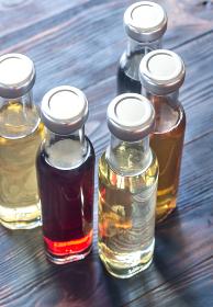 Bottles with different kinds of vinegar