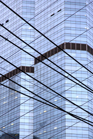 reflex of some gray palace in a window terrace of the centre  bangkok thailand  current pipe