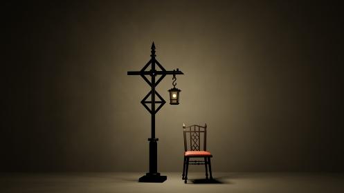 暗闇の中のランタンと椅子 アンティーク ゴシック レトロ 3DCG