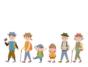 家族でハイキングイラスト