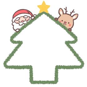 サンタクロースとトナカイとクリスマスツリーのフレーム