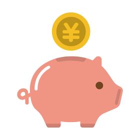 豚の貯金箱・貯蓄・節約・収入 カラーアイコン (日本円)
