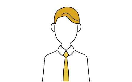 顔なしのポーズイラスト、サラリーマンの上半身、不動