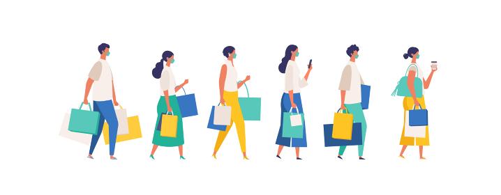マスクをして夏の買い物に行く人々