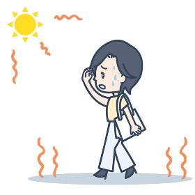 通勤時 強い日差しに悩む女性のイラスト