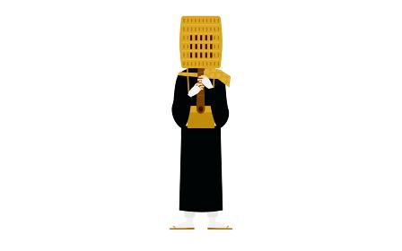 仏教のお坊さんの立ち姿、笛を吹く僧侶