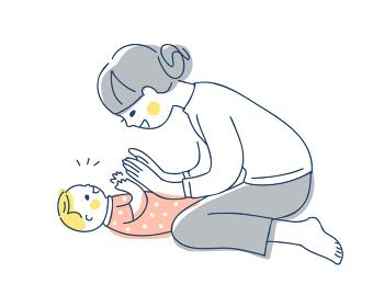 手を合わせて遊ぶママと赤ちゃん
