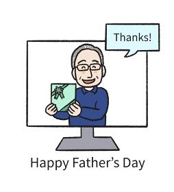 父の日 オンラインでお礼を言うお父さんのイラスト