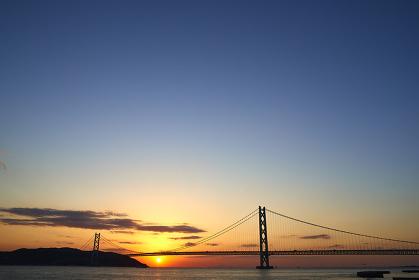 兵庫県  神戸市  夕方の明石海峡
