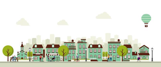 横並び ビル・建物・家 (風景・街並み) バナーイラスト / 人々の日常生活