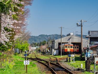春の鉄道風景 いすみ鉄道大多喜駅 3月