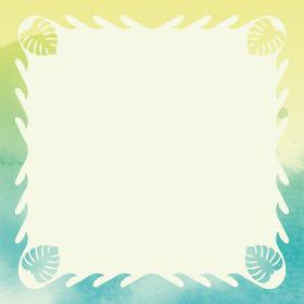 波とモンステラ アナログ水彩画水彩タッチのハワイアンキルトの背景オーナメント バックグラウンド