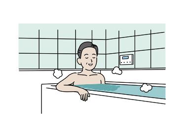 入浴する中高年の男性 お風呂 ミドル イラスト素材