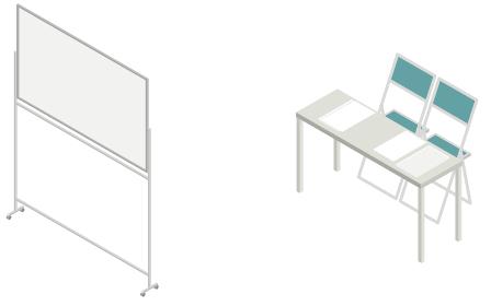 ホワイトボードと机とパイプ椅子の置かれた会議室、アイソメトリック