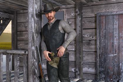 清潔感のあるカウボーイハットをかぶった髭の男性が不敵な微笑みを浮かべながら柱にもたれかかる