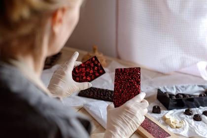 handmade chocolate in female hands