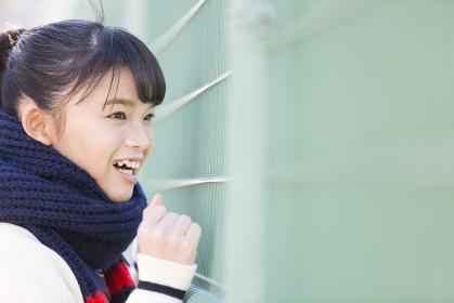 フェンスから眺める女子校生