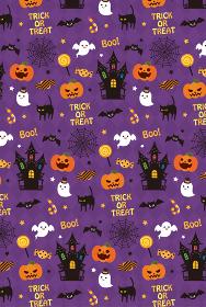 ハロウィン かわいいシームレスパターン背景