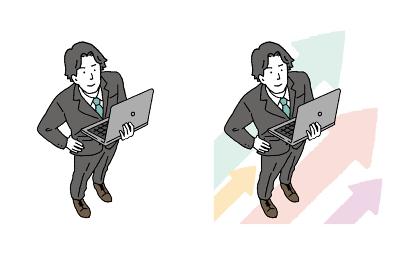 パソコンを持った俯瞰のビジネスマンの男性のイラストレーション