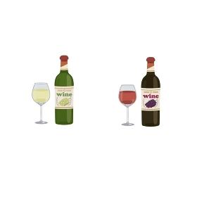 ワイン 赤と白のイラストアルコール