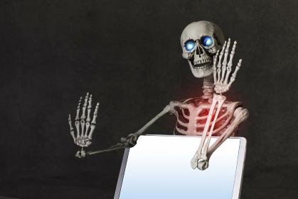 画面を見せる骸骨