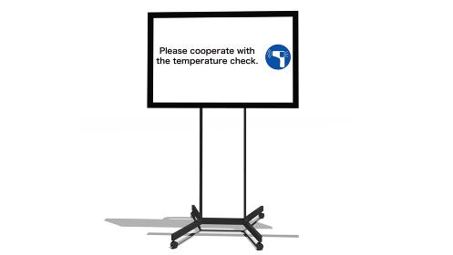コロナウイルス感染予防の英語表記のメッセージが映し出されているモニターの3dレンダリング