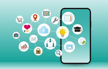 スマートフォン バナーイラスト /テクノロジー,コンピューター,IT,インターネット etc.