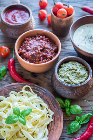 Tagliatelle with different kinds of sauce