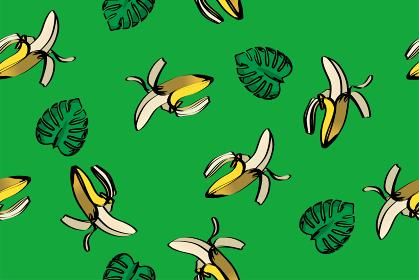 シームレスのバナナとモンステラのイラストの連続柄(アナログ調)|夏のイメージ|テキスタイル