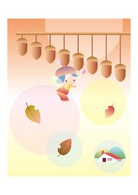 ドングリの楽器を叩く女の子の妖精