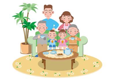 ソファーでティータイムを楽しむ老夫婦と4人家族