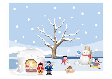 冬、かまくら、雪だるまを作って遊ぶ子供達