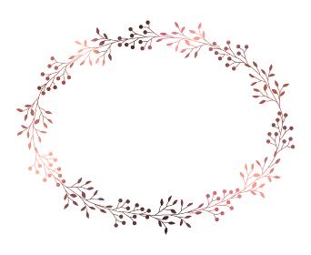 ピンクゴールドの小枝と実のフレームイラスト 3