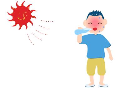 熱中症対策で水を飲む男の子のイラスト