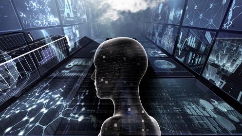 監視社会 スマートシティ スパイカメラ 人工知能 都市 ネットワーク テクノロジー 3D イラスト